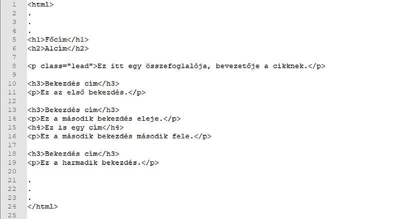 blog cikk html kódja